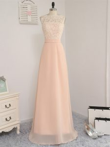 Low Price Chiffon Sleeveless Floor Length Quinceanera Court of Honor Dress and Lace