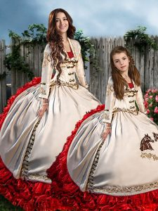 Attractive Organza and Taffeta Sweetheart Long Sleeves Brush Train Lace Up Embroidery and Ruffles Sweet 16 Dress in White And Red