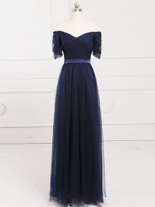 Navy Blue Empire Tulle Off The Shoulder Short Sleeves Ruching Floor Length Lace Up Dama Dress for Quinceanera