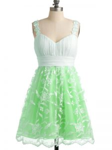 Knee Length Lace Up Quinceanera Court of Honor Dress Apple Green for Prom and Party and Wedding Party with Lace