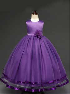 Top Selling Ball Gowns Pageant Gowns Purple Scoop Tulle Sleeveless Floor Length Zipper
