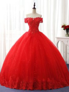 Tulle Off The Shoulder Sleeveless Lace Up Beading and Ruffles 15 Quinceanera Dress in Red