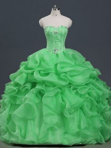 Sleeveless Beading and Ruffles and Pick Ups Lace Up Sweet 16 Dress