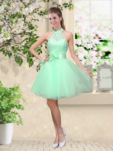Super Sleeveless Lace Up Knee Length Lace and Belt Dama Dress