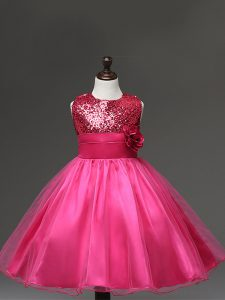 Nice Tulle Scoop Sleeveless Zipper Sequins and Hand Made Flower Pageant Dress in Hot Pink
