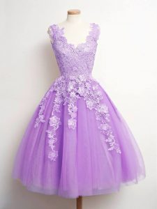 Comfortable Lace Quinceanera Court Dresses Lavender Lace Up Sleeveless Knee Length