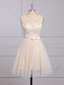 Champagne Scoop Lace Up Appliques and Belt Quinceanera Dama Dress Sleeveless