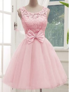 Fantastic Baby Pink Scoop Neckline Lace and Bowknot Quinceanera Dama Dress Sleeveless Lace Up