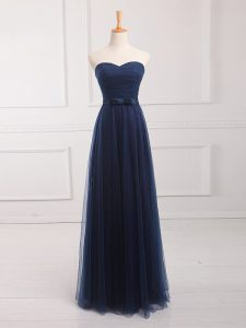 Super Sweetheart Sleeveless Court Dresses for Sweet 16 Floor Length Belt Navy Blue Tulle and Lace