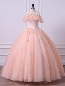 Best Tulle Off The Shoulder Short Sleeves Lace Up Lace and Appliques Quinceanera Dresses in Peach