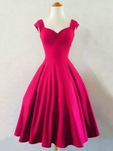 Fitting Straps Sleeveless Dama Dress Knee Length Ruching Hot Pink Taffeta
