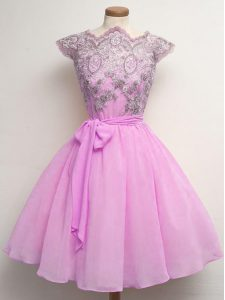 Lilac A-line Chiffon Scalloped Cap Sleeves Lace and Belt Knee Length Lace Up Court Dresses for Sweet 16