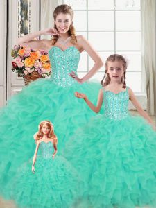 Fantastic Turquoise 15 Quinceanera Dress Military Ball and Sweet 16 and Quinceanera with Beading and Ruffles Sweetheart Sleeveless Lace Up