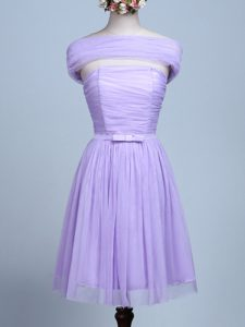 Lavender Empire Strapless Sleeveless Tulle Mini Length Side Zipper Belt Quinceanera Court Dresses