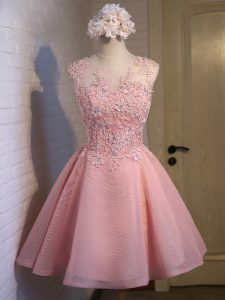 Mini Length Pink Quinceanera Court Dresses Scoop Sleeveless Lace Up
