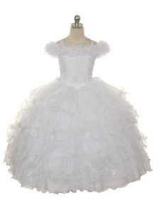 Trendy White Off The Shoulder Neckline Ruffles and Ruffled Layers Pageant Dress for Teens Sleeveless Lace Up