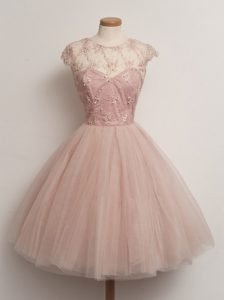 Delicate Peach Tulle Lace Up Scoop Cap Sleeves Knee Length Quinceanera Court Dresses Lace