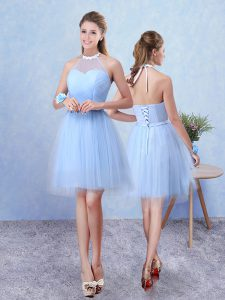 Blue Lace Up Damas Dress Ruching Sleeveless Knee Length