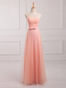 Superior Peach Vestidos de Damas Prom and Party and Wedding Party with Belt Sweetheart Sleeveless Lace Up