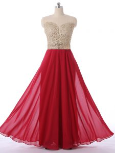 Floor Length Red Quinceanera Dama Dress Chiffon Sleeveless Beading