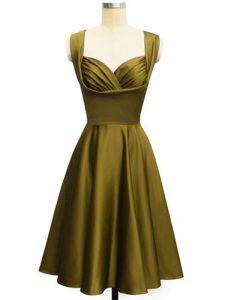Best Olive Green Taffeta Lace Up Court Dresses for Sweet 16 Sleeveless Knee Length Ruching