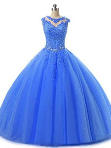 Floor Length Blue Sweet 16 Dresses Tulle Sleeveless Beading and Lace