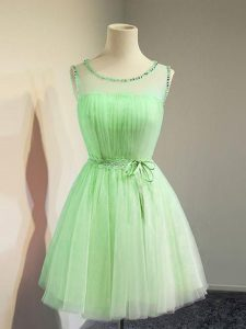 Tulle Lace Up Scoop Sleeveless Knee Length Quinceanera Dama Dress Belt
