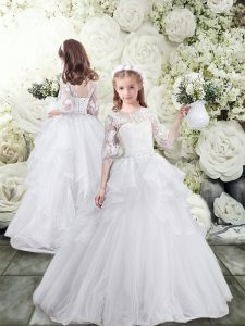 Super Tulle Scoop Half Sleeves Brush Train Lace Up Lace and Ruffles Flower Girl Dresses in White