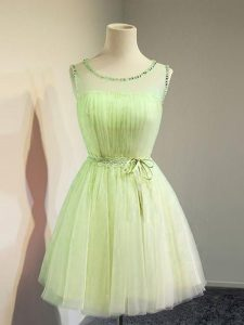 Fashion Yellow Green Scoop Lace Up Belt Court Dresses for Sweet 16 Sleeveless