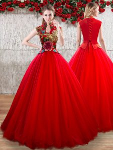 Inexpensive Red Short Sleeves Organza Lace Up Quinceanera Gowns for Military Ball and Sweet 16 and Quinceanera