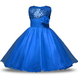 Customized Blue Zipper Flower Girl Dresses for Less Bowknot and Belt and Hand Made Flower Sleeveless Knee Length