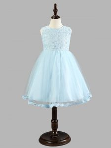 Gorgeous Scoop Sleeveless Zipper Pageant Dress for Womens Light Blue Tulle