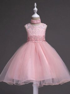 Latest Scoop Sleeveless Child Pageant Dress Knee Length Beading and Appliques Baby Pink Tulle