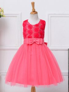 Scoop Sleeveless Lace Up Flower Girl Dresses Hot Pink Tulle