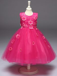 Tulle Sleeveless Knee Length Little Girls Pageant Dress Wholesale and Appliques and Bowknot