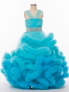 A-line Kids Pageant Dress Baby Blue V-neck Tulle Sleeveless Floor Length Lace Up