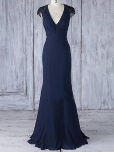 Eye-catching Chiffon V-neck Cap Sleeves Side Zipper Lace Quinceanera Court Dresses in Navy Blue