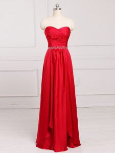 Unique Sweetheart Sleeveless Zipper Quinceanera Court of Honor Dress Red Taffeta