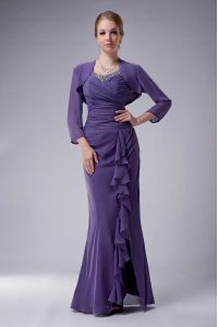Edgy Chiffon Sleeveless Floor Length Mother of the Bride Dress and Beading