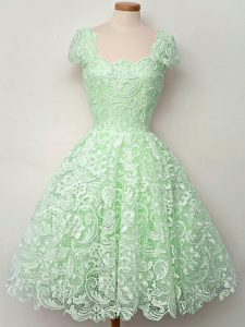 Customized Knee Length Apple Green Dama Dress for Quinceanera Lace Cap Sleeves Lace