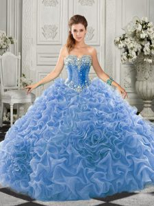 Fantastic Light Blue Sweetheart Lace Up Beading and Ruffles Sweet 16 Dresses Court Train Sleeveless