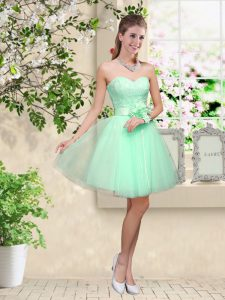 Apple Green A-line Lace and Belt Quinceanera Dama Dress Lace Up Tulle Sleeveless Knee Length