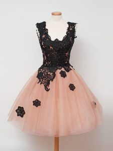 Sleeveless Knee Length Lace Zipper Quinceanera Court Dresses with Peach