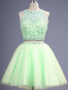 Yellow Green Lace Up Scoop Beading Dama Dress Tulle Sleeveless