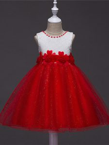 Admirable Wine Red Scoop Zipper Lace and Hand Made Flower Little Girl Pageant Dress Sleeveless