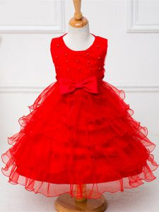 Red Sleeveless Ruffled Layers and Bowknot Tea Length Pageant Dress for Womens
