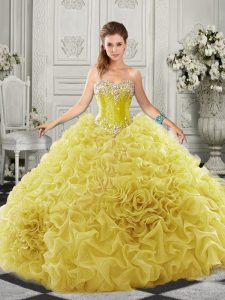 Charming Yellow Quinceanera Dress Military Ball and Sweet 16 and Quinceanera with Beading and Ruffles Sweetheart Sleeveless Court Train Lace Up