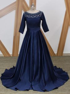 Elegant Scoop 3 4 Length Sleeve Mother of Bride Dresses Brush Train Beading Navy Blue Satin