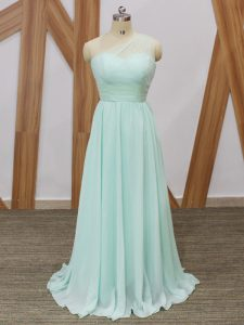 Sleeveless Chiffon Sweep Train Side Zipper Quinceanera Court Dresses in Apple Green with Ruching