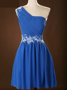 Blue Sleeveless Mini Length Appliques and Ruching Zipper Dama Dress